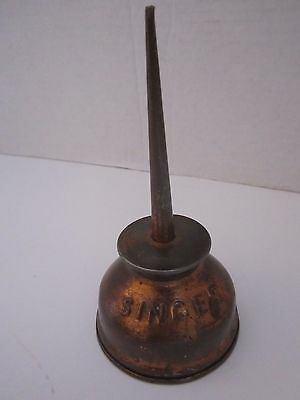 Vintage SINGER Advertising Oil Can. Embossed Copper Clad Tin Oiler. Made in USA
