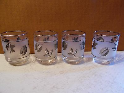 4 Glass Flat Juice Tumblers Frosted Silver Leaf by Libbey Rock Sharpe