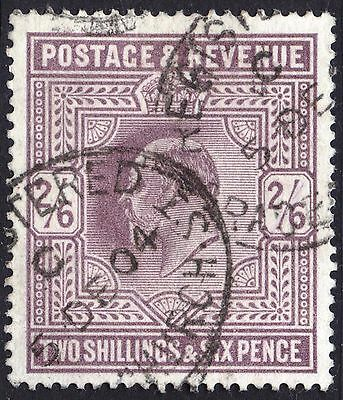 GB 1902 2s6d Lilac Del La Rue SG 260 Scott 139 VFU Cat £140($172)