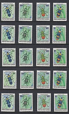 PAPUA NEW GUINEA, 1996 BEETLES, 5 Sets of 4, Mint Never Hinged
