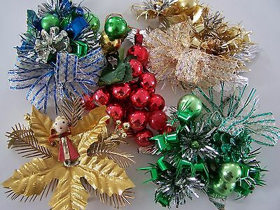 Vintage Christmas Corsages Mercury Glass Beaded Foil Leafs Made In Japan