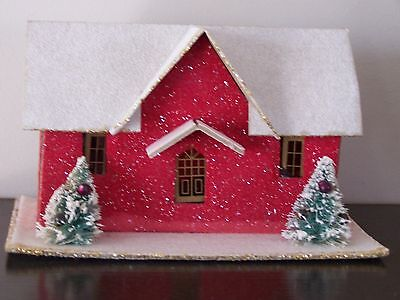 Vintage LARGE Mica Putz Christmas house village cardboard Mercury glass beaded
