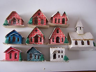 Lot of 10 Vintage Putz Christmas houses village cardboard Mica made in Taiwan
