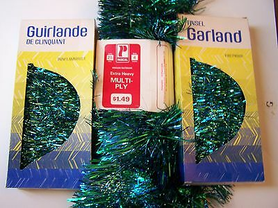 Vintage Christmas Tree TINSEL GARLANDS BLUE & GREEN COLORS