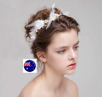 Women Bride Wedding white Feather Race Prom Party Hair headpiece Fascinator