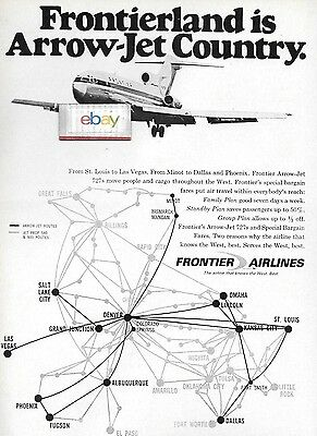 Frontier Airlines Boeing 727 Arrow Jet Country Service Routes Ad