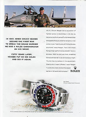 Rolex Watch Ad 1998 Chuck Yeager print ad