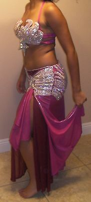 Professional Egyptian hand-made Hot Pink & Maroon 2pieces Belly Dance Costume