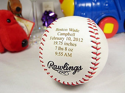 Personalized Engraved Baby Announcement Baseball Gift Keepsake Rawlings