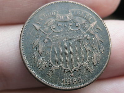 1865 Two 2 Cent Piece- VF/XF Details- WE Showing