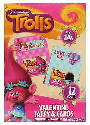 TROLLS^ 2.12oz 12pc TAFFY+EXCHANGE CARDS Candy VALENTINES DAY HILCO Exp.9/18 2/9
