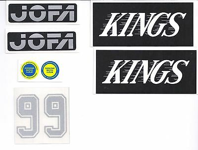 Replicated Vintage Jofa VM Helmet 225 & 235 51 Stickers Gretzky Kings Silver 99
