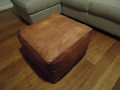 Luxury New Tan Leather Ottoman or Sofa, Footstool or Coffee Table