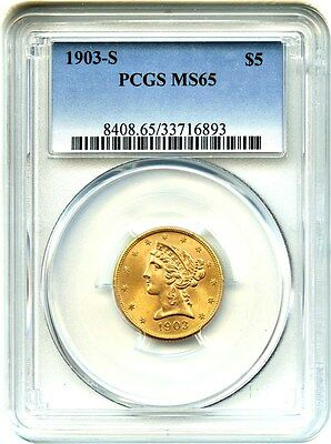 1903-S $5 PCGS MS65 - Liberty Half Eagle - Gold Coin - Flashy Gem