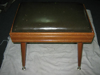 A Retro Vintage Mid Century Padded Seat Tapered Legged Wooden Piano Stool
