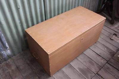 A Vintage Shipping Trunk - Chest - Wood Box - Toy Box - Firewood Box