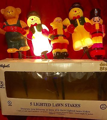 5 Vintage DYNAGOOD Plastic Pathway Markers LIGHTED YARD STAKES Christmas 1997