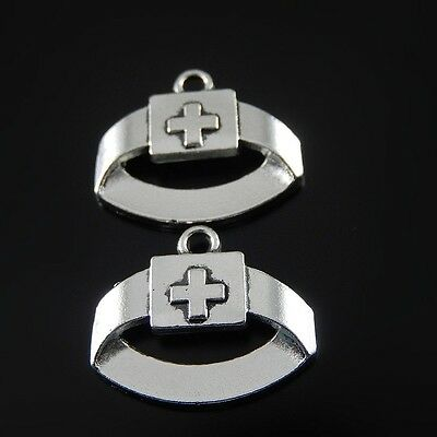 Vintage Silver Tone Red Cross Headband Alloy Charms Pendants Finding 40pcs 52036
