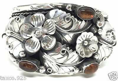 Taxco Mexican Vintage Style 950 Silver Amber Floral Cuff Bracelet Mexico