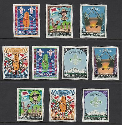 SHARJAH 1968 BOY SCOUTS, Set of 10, Mint Never Hinged