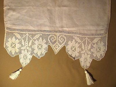 "Vtg Edwardian Ecru Linen and Filet Crochet Server Cover Runner 58"""" x 20"""