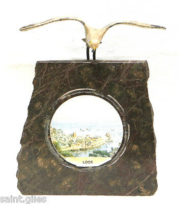 Vintage Cornish Serpentine Mineral Rock Paperweight With Painted Lead Seagull