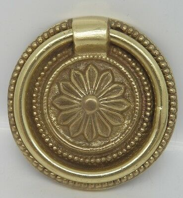 38mm ORNATE POLISHED CAST BRASS CABINET RING PULL HANDLE