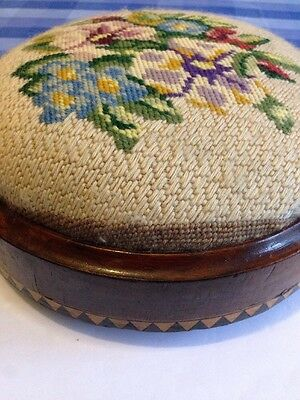 Antique Vintage Wood Inlaid Tapestry Embroidered Stool