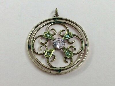 Antique 9Ct Rose Gold Seed Pearl & Pink Tourmaline Pendant 1910