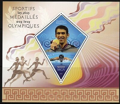 MADAGASCAR 2014-94 Olympic champions  Michael Phelps MNH
