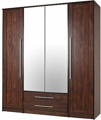 NEW Kendal 4 Door Mirrored Wardrobe with 2 Drawers & 4 Shelves - Walnut Effect