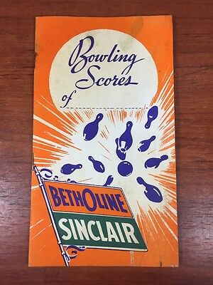 Vintage Sinclair Gas & Oil Collectible 1940's Advertising Bowling Score Booklet