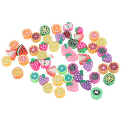 50pcs 10mm Mixed Fruit Pattern Clay Spacer Beads Charms For Jewelry Making