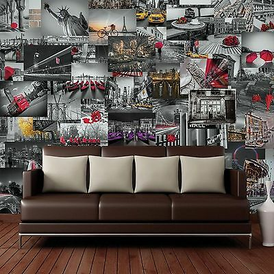 Creative Collage City Scapes 64 Piece Designer Wall Mural Wallpaper Landmarks