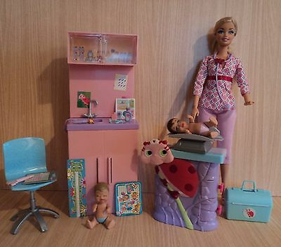 Barbie Baby Doctor & Play Set.  2 Babies, Furniture and Lots of Accessories