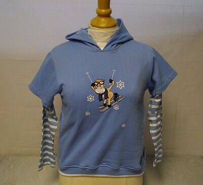 Cuddly Ponies Hooded Skiing Sweatshirt Bluebell/White