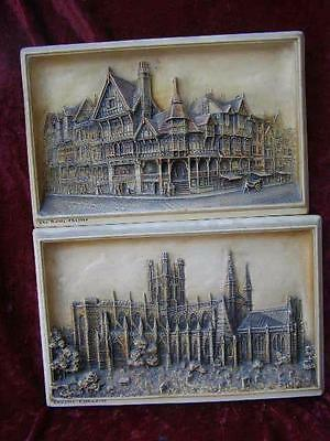 2 Antique Coloured Ivorex Wall Plaques Pictures Chester Cathedral & Shops