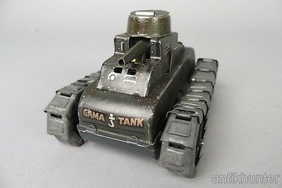 """vintage gama tank , wind-up tin toy , with metal treads , 4"""" inch long , pre war"""