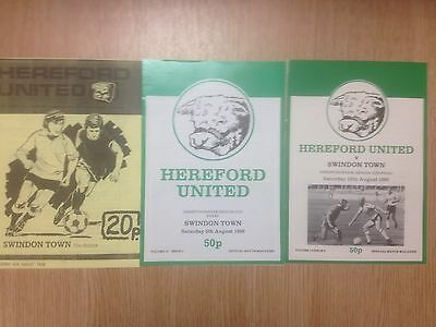 3 x Hereford United v Swindon Town - Senior Cup Finals - 88/89 89/90 & 90/91