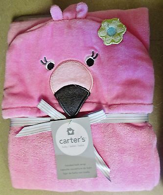 New Carter's Hooded Pink Flamingo Baby Towel