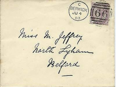 GB 1883 1d Lilac Cover with Berwick 66 Duplex to Belford