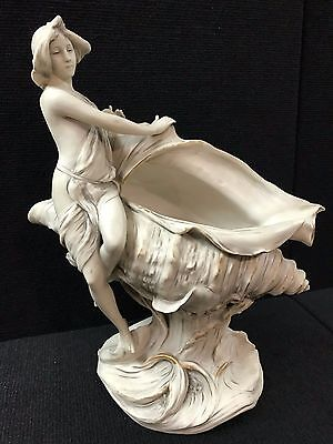 "Antique Royal Dux Art Nouveau Nude Nymph Centerpiece Bowl Porcelain 14 1/2"" Tall"