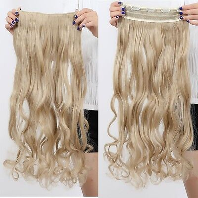 """Fashion 24"""" Curly Ash Blonde half full head Clip in hair extensions Piece pt125"""