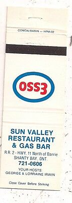 Sun Valley Restaurant & Gas Bar Esso Hwy 11 Shanty Bay ON Ontario Matchcover