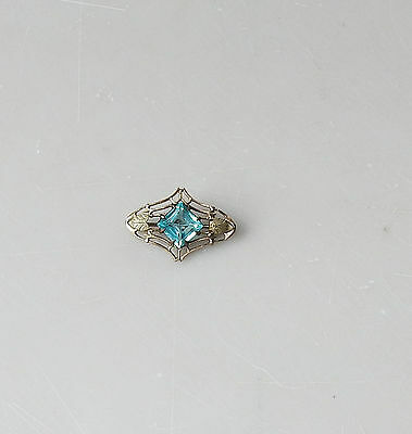 Antique Victorian Bar Collar Pin Paste Blue Stone Leaves Gold Filled #178