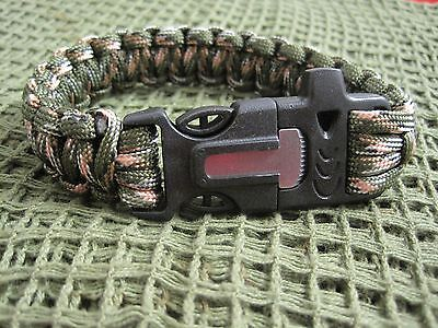 Camouflage Paracord Bracelet With  Flint/steel + Whistle- Survival Gear / Gift