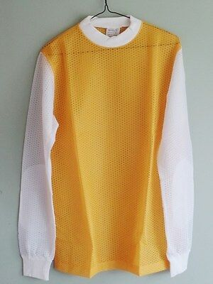 NOS 1970s Vintage Motocross YELLOW white sleeves Mesh Jersey Size Adult LARGE L