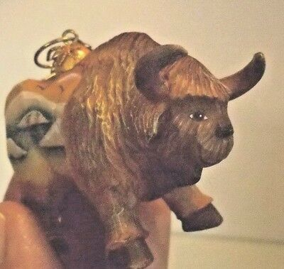 """G. Debrekht- Buffalo Hanging Ornament- Hand Carved & Painted 2"""" Tall 2 1/2"""" Long"""