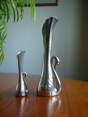 2 Unusual & Attractive Small Vintage 'swan' Themed Silver Plated Posy Vases.