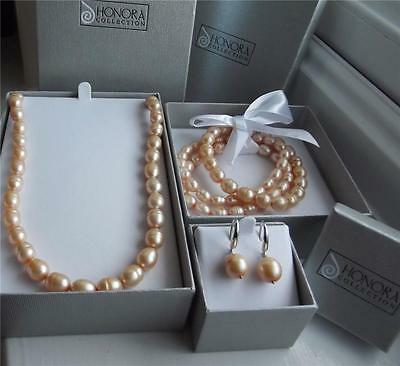 Honora Champagne Pearl Sterl Silver Necklace Bracelet Earrings Set New Boxed Qvc
